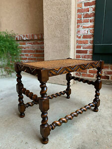 Antique English Carved Oak Barley Twist Bench Stool Cane Display Table