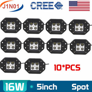 10x 5inch 16w Square Spot Lamp Led Work Light Offroad Fog Fits Truck Flush Mount