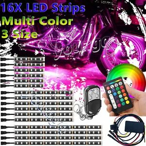 16x Motorcycle Led Light Underglow Body Neon Accent Strip For Harley davidson