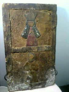 Post Medieval Primitve Wood Carved Panel Religious Or Royalty Maybe From Ship