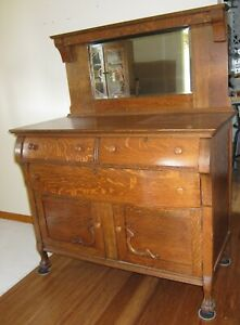 1800s Victorian Buffet Sideboard Quarter Sawn Oak Claw Foot Bevel Mirror S Ohio