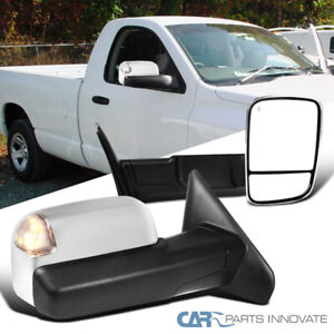 Chrome Towing Side Mirrors For Dodge 02 08 Ram Flip up Power Heated led Signal