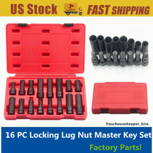 Steelmam 78537 16 pc Locking Lug Nut Master Set Wheel Lock Key Removal Tool Kit
