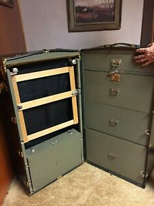 Large Antique Oshkosh Wardrobe Steamer Trunk W Drawers Hangers 43 Tall