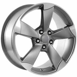 20 X 9 Audi Gunmetal machined Face Rotor Style Replica Rims Hollander 58942