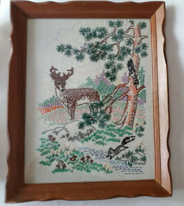 Vintage Hand Embroidered Framed Woodland Picture Deer Trees Flowers 16 X 20