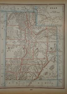 Vintage 1893 Utah Territory Map Old Antique Original Atlas Map Free S