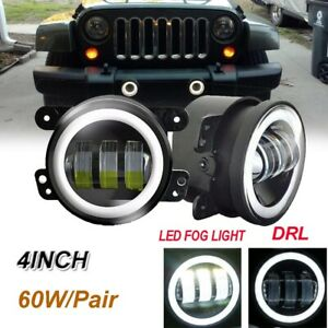 Pair 4 Inch 60w Round Led Fog Lights Driving Lamps For Jeep Wrangler Jk Tj Cj