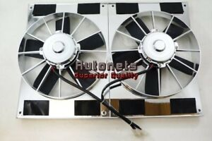 11 Chrome Dual High Flow Radiator Electric Cooling Fan Twin Straight W Shroud