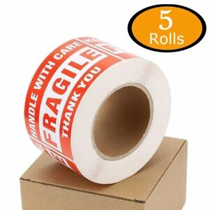 5 Rolls Fragile Stickers 3x5 Handle With Care Warning Packing Shipping Labels