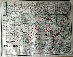 1892 Oklahoma Indian Territory Antique Atlas Map Stage Station Rrs Reserves