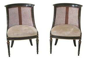 31211ec Pair Alfonso Marina Regency Style Black Cane Chairs