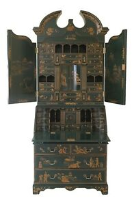 47672ec Green Chinoiserie Lacquer Paint Decorated Secretary Desk