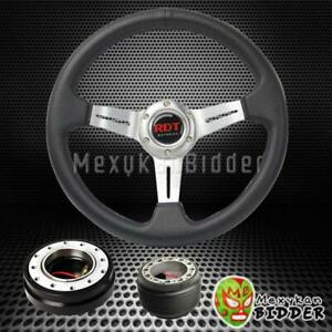 Silver Deep Dish Steering Wheel Black Quick Release For Honda Civic 1988 1991