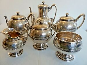 Fine J E Caldwell Sterling Silver 6 Piece Tea Coffee Set English Sterling