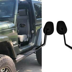 Black Long Stem Door Hinge Off Mirrors For Jeep Wrangler Jl Jku Jk Tj 1987 2019