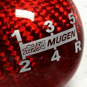 X1 New Jdm Mugen Shift Knob For Honda Crz Type R Accord Fa5 Red Carbon 5 Speed