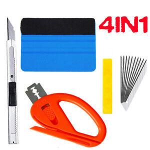 4pcs Car Vinyl Wrapping Tools Squeegee Applicator Kit Window Tint Film Install