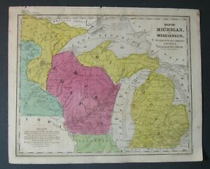 Scarce Ca 1840 Smith Map Michigan Wisconsin Territory Part Of Minnesota Terr