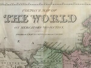 1855 Framed Colton Map Of The World Original 25x16