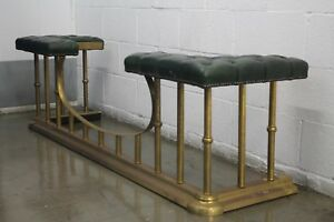 Vintage Fender Fireplace Bench In The Style Of Danny Alessandro Brass Leather