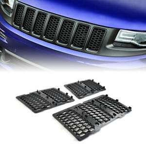 Honeycomb Mesh Grille Grill Insert Matte Black For 2014 2016 Jeep Grand Cherokee