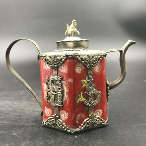 Chinese Antique Red Ceramic Teapot Outsourcing Tibetan Silver C474