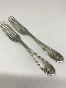 2 Two Antique Josephine Coin Silver Salad Fork By Gorham C 1855 76 Grams
