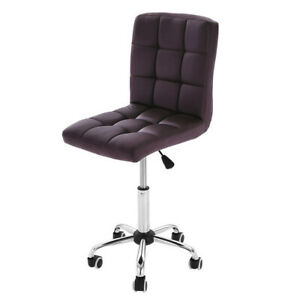 Office Desk Chair Pu Leather Mid Back Armless Stool Swivel Task Chair W Wheels