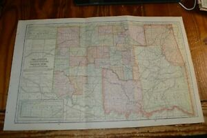 1905 Map Of Indian Territory And Oklahoma Territory Railroads Shown