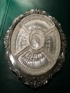 Grand Silver Plate Serving Tray With Crystal Inserts Beautiful Detail