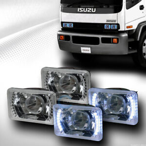 2 Pair Universal 4 x6 Chrome Daytime White Led Projector Head Light Lamp H4 Ca1