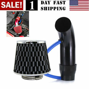 Universal Car Cold Air Intake Filter Alumimum Induction Kit Pipe Hose Black Us