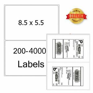 8 5 X 5 5 Shipping Labels Half Sheet Self Adhesive Round Corner Mailing Labels