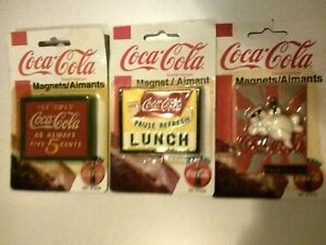 3 Coca Cola Magnets-(#1)Lunch (#2)Bear & (#3)Ice Cold 1995  1997 & 1998