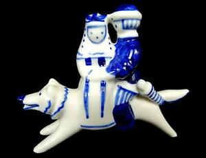 Gzhel Ussr Russian Ivan Tsarevitch The Wolf Blue And White 4 1 4 Figurine