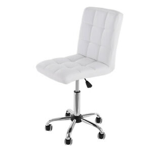 Office Task Chair Executive Armless Rolling Stool Midback Swivel Seat Pu Leather