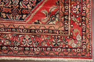 Vintage One Of A Kind Geometric Lilian Hamedan Area Rug Navy Red Hand Made 7x10