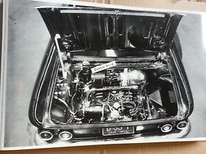 12 By 18 Black White Picture Corvair Engine Shot Ohio Plates