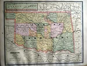 1886 Indian Territory Antique Color Atlas Map Original 133 Years Old