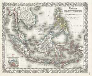 1855 Colton Map Of The East Indies Singapore Thailand Borneo Malaysia