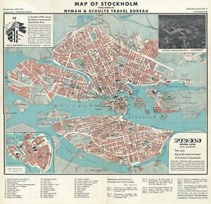 1935 Nyman And Schultz City Map Or Plan Of Stockholm Sweden