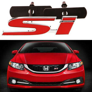 3d Jdm Red Si Badge Front Grill Grille Screw On Metal Emblem For Honda Civic