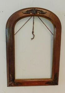 Antique 19th C Walnut Cherry Wood Victorian Mirror Picture Frame Carved Leaves