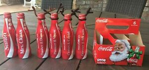 6 Lot Aluminum Coca Cola Bottles Santa & Reindeer Dasher Prancer Comet Blitzen