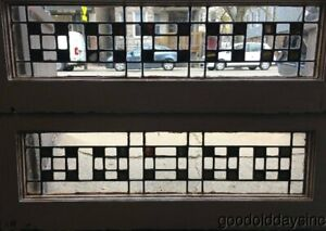 2 Antique Stained Leaded Glass Transom Windows 32 X 12 Circa 1925