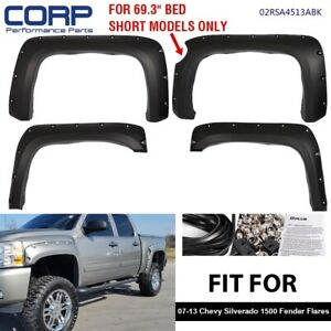 Pocket Riveted Wheel Fender Flares Bolt On For Chevy Silverado 1500 69 2007 13