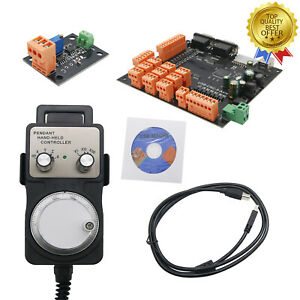 9axis Cnc Controller Kit 100khz Stepper Motor Breakout Board handwheel usb cd