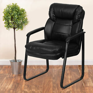 Black Leathersoft Executive Side Reception Chair W lumbar Support sled Base