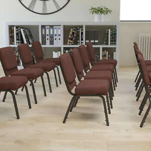 18 5 w Stacking Church Chair In Brown Fabric Gold Vein Frame